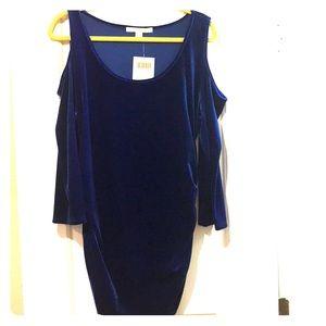 Beautiful blue velvet top with cold shoulder